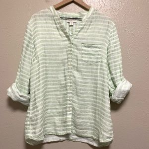 Coldwater Creek 100% linen striped roll sleeve top
